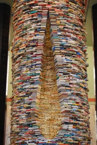 Yes, this is a tower of books! Beautiful, eh? Photo by Aleksander Razumny. Image CC.