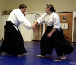Photo courtesy of Zach Hively. That's me, demonstrating for my Nikyu test in 2013!